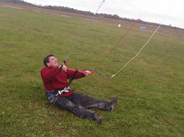 Dan flying his traction kite