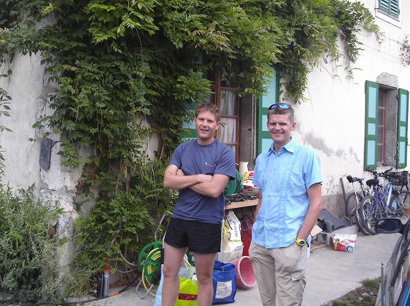 Jason and Arild outside Maison du Moulin - Annecy